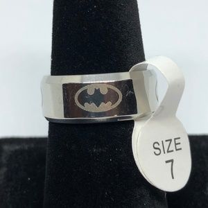 Stainless Steel Batman Band Unisex Ring Size 7